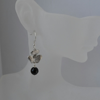 Black Onyx Orchid Flower Sterling Silver Earrings