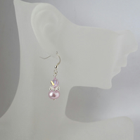 Pink Freshwater Pearl  and Crystal Sterling Silver Earrings