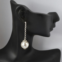Jumbo White Pearl Dangle Earrings