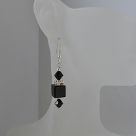 Black Onyx & Swarovski Crystal Sterling Silver Earrings