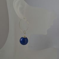 Chunky Bright Blue Stone Earrings