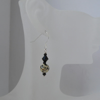 Dalmatian Jasper, Black Spinel & Swarovski Crystal Sterling Silver Earrings