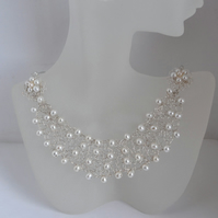 Knitted Wire Work Freshwater Cultured Pearl Collar Bib Necklace