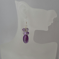 Purple Agate & Amethyst Sterling Silver Earrings