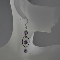 Natural Amethyst Dangle Drop Sterling Silver Earrings