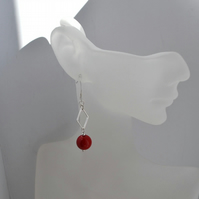 Bright Red Bamboo Coral Dangle Drop Sterling Silver Earrings