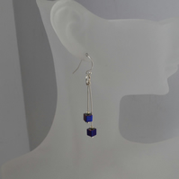 Purple Hematite Cube Stone Silver Dangle Earrings