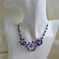 Statement Purple Wire Work Collar Necklace with Elegant Hematite Cubes