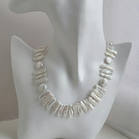 Biwa Pearl Ivory White Stick Pearl and Coin Knotted Freshwater Pearl Collar Neck