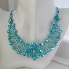 Turquoise Knitted Wire Work Freshwater Cultured Pearl Collar Bib Necklace