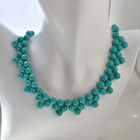 Natural Turquoise Woven Hand Knotted Stone Collar Necklace