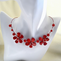 Red Coral Wire Work Flower Design Necklace