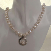 Freshwater Pearl and Sterling Silver Necklace with Sterling Silver Pendant