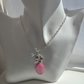 Silver Chain Necklace with Pink Mother of Pearl Shell Pendant