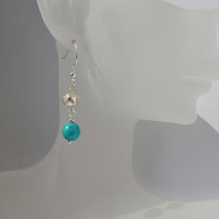 Natural Turquoise Stone Fine Silver & Sterling Silver Drop Earrings