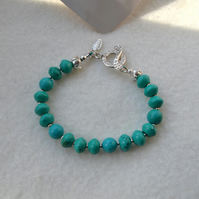 Natural Turquoise and Fine Silver Stone Bracelet