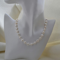 String of Pearls Hand Knotted Freshwater Pearl Necklace with Sterling Silver