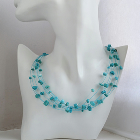 Multi Strand Floating Necklace with Turquoise