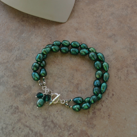 Emerald Green Freshwater Cultured Pearl Two Strand Sterling Silver Bracelet