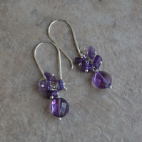 Purple Amethyst Sterling Silver Cluster Drop Earrings