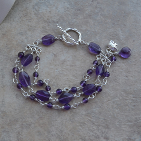 Amethyst Multi Strand Sterling Silver Wire Wrapped Bracelet with Elephant Charm