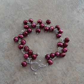 Burgundy Red Cranberry Freshwater Pearl Sterling Silver Cluster Charm Bracelet