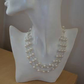 Pearl Multi Strand Necklace with Freshwater Cultured Pearls & Sterling Silver