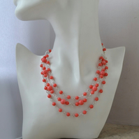 Pink Coral Multi Strand Sterling Silver Collar Necklace