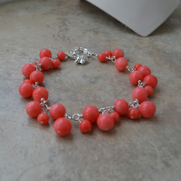Pink Coral Sterling Silver Cluster Charm Bracelet with Elephant Charm