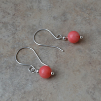 Sterling Silver Pink Coral Earrings
