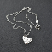Sterling Silver Funky Heart Minimalist Chain Necklace