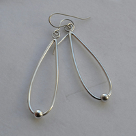 Contemporary Handmade Sterling Silver Extra Long Drop Earrings