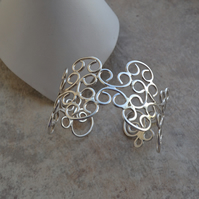 Handmade Hallmarked Sterling Silver Filigree Contemporary Cuff Bracelet