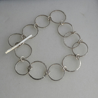 Sterling Silver Modern Hammered and Textured Circles Chain Bracelet