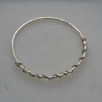 Hallmarked Sterling Silver Stacking Bangle with Twisted Wire Decoration