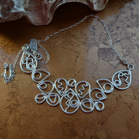 Hallmarked Sterling Silver Filigree Necklace