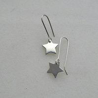 Sterling Silver Star Contemporary Earrings