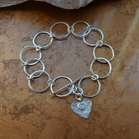 Contemporary Handmade Sterling Silver Large Circles Chain Bracelet with Heart