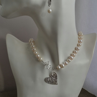 Sterling Silver Valentine Heart Front Fastening Knotted Pearl Necklace