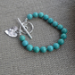 Sterling Silver Natural Turquoise Bracelet with Romantic Heart Charm