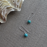 Sterling Silver Turquoise Contemporary Drop Earrings