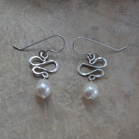 Silver Squiggle Modern Freshwater Pearl Sterling Silver Earrings