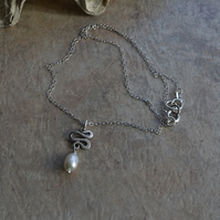 Modern Sterling Silver Squiggle Minimalist Necklace with Single Freshwater Pearl
