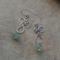Modern Sterling Silver Squiggle Earrings with Aventurine