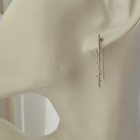 Contemporary Sterling Silver Stick and Coil Earrings