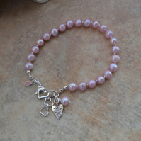 Pink Freshwater  Pearl Knotted Bracelet with Sterling Silver Heart Charm