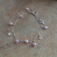 Dainty Freshwater  Pink Pearl and Silver Disc Sterling Silver Chain Bracelet