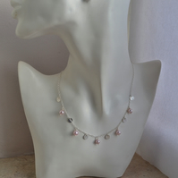 Pale Pink Freshwater Cultured Pearl and Sterling Silver Disc Necklace