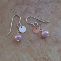 Pale Pink Freshwater Cultured Pearl Sterling Silver Disc Dainty Modern Earrings