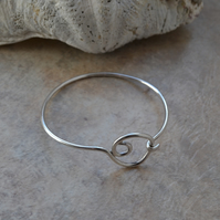 Hallmarked Sterling Silver Open  Hooked Bangle with Abstract Spiral Design